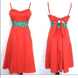 Red and Teal Anthropologie Sun Dress Size 6